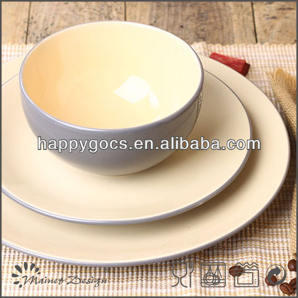 18pcs two tone stoneware dinnerset solid color ceramic tableware
