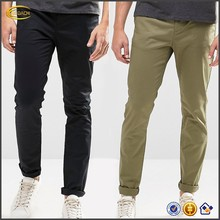 Ecoach Wholesale OEM New Fashion Style Men Skinny Fit Cotton Chino Pants Button Fly Side Pockets Black And Khaki Trousers