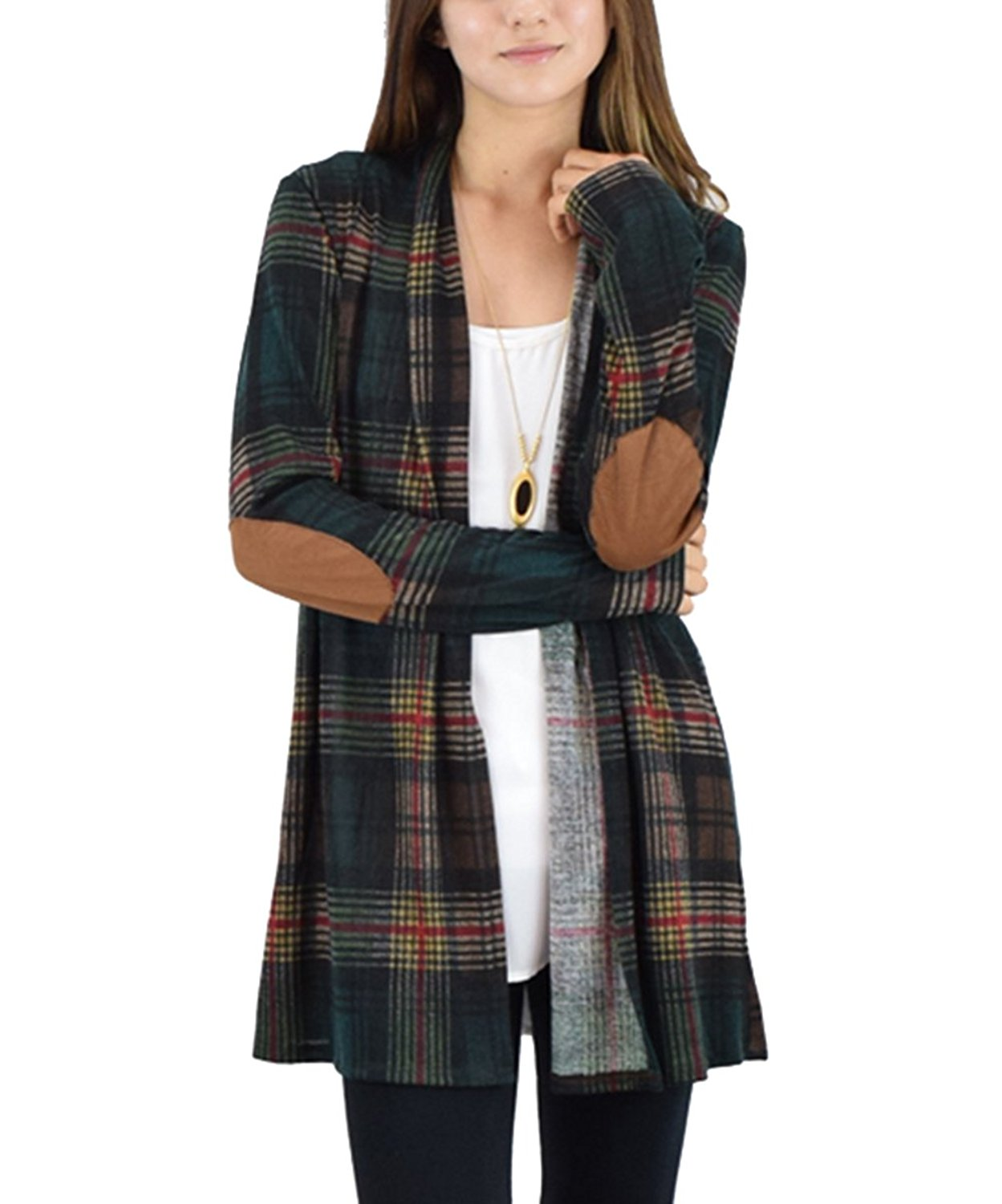 c26b0d39896 Get Quotations · Amborido Womens Long Sleeve Plaid Print Elbow-Patch Open  Front Cardigan Sweater
