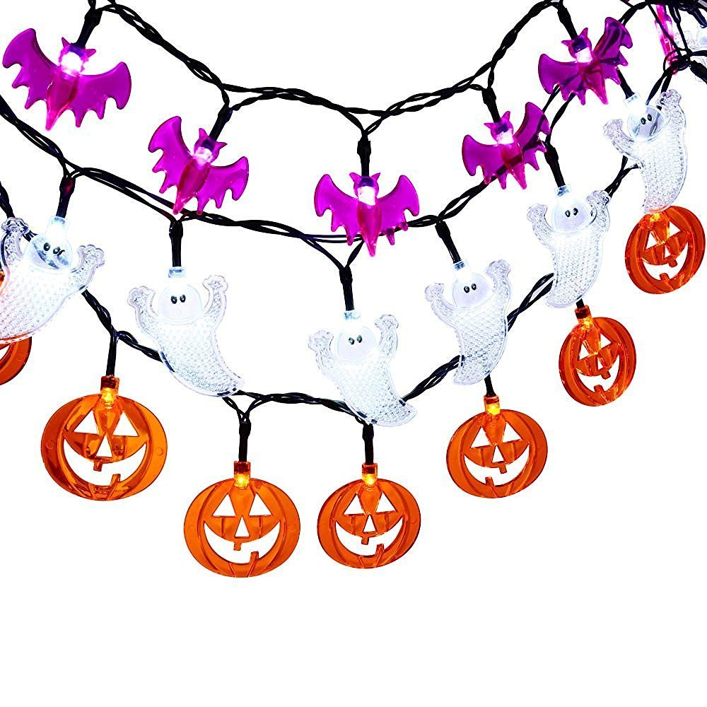 Qedertek Set of 3 Battery Powered Halloween String Lights, 20 LED Fairy Decorative Lights - Ghost / Pumkin / Bat