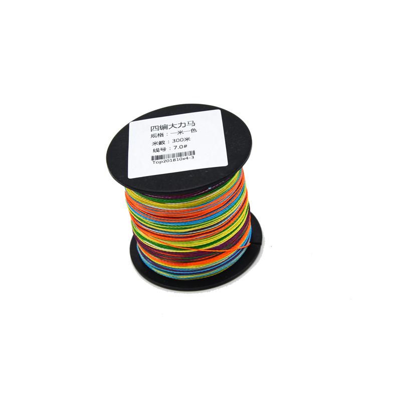 wholesale high quality fishing 100m 300m 500m 1000m 4 strands braided multifilament PE line, Mixed color