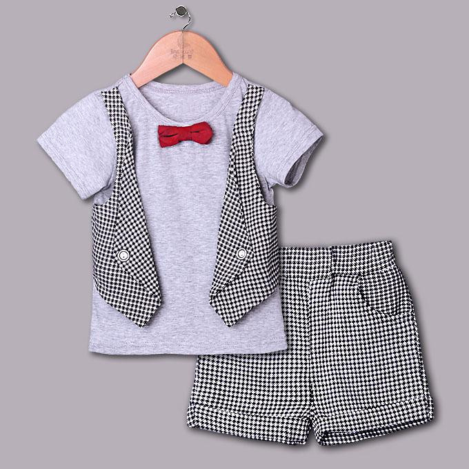 2016 Boy Clothing Set Grey Grid Summer Clothes Suits For Boys With Red Bow Tie Children Wear Toddler Clothes CS40420-24