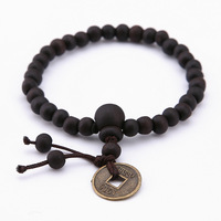 Men's Wood Buddha Prayer Beads Copper Coin Pendant Bracelet Lucky Wealth Bangle