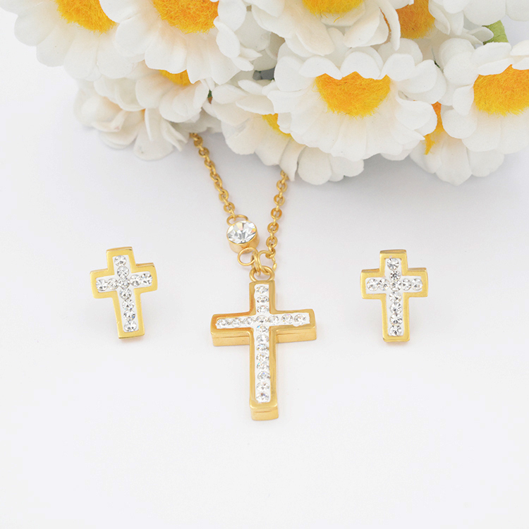 2017 Factory price wholesale cross shape fancy long chain stainless steel necklace jewelry set
