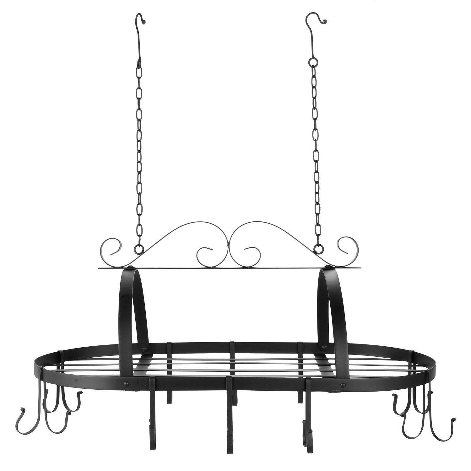 MyEasyShopping Hanging Pot Rack, Kitchen Iron Pot Rack Hanging Cookware Storage Holder with 10 Hooks, Hanging Rack Pot Kitchen Pan Storage Holder Iron Cookware And Mount Hook Wall Organizer Hanger