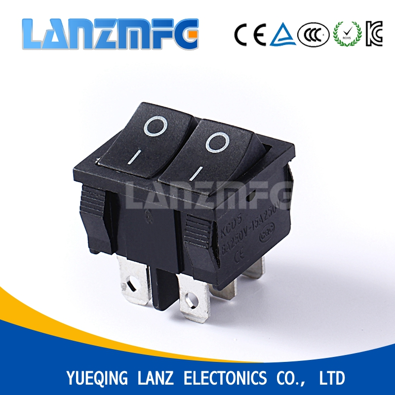 Small square double buttons plastic rocker switch