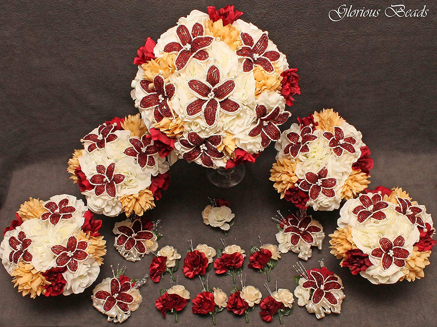 Wedding Flower BEADED Burgundy Red and Taupe Bridal 18 piece package ~ Unique French beaded Red Burgundy Ivory colored Lily flowers.