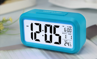 Optional Weekday Alarm and Sensor Light Backlight Alarm Clock with Dimmer