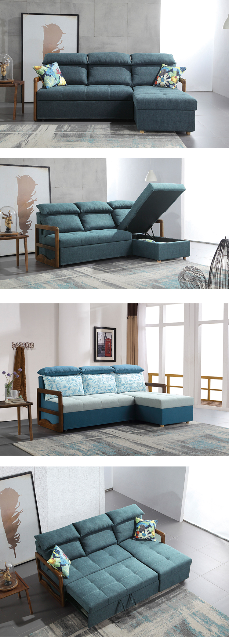 Chinese style blue fabric solid wood l shape storage corner sofa bed