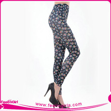 Wholesale Black Sexy Leggings Pics With Colorful Printed Flower