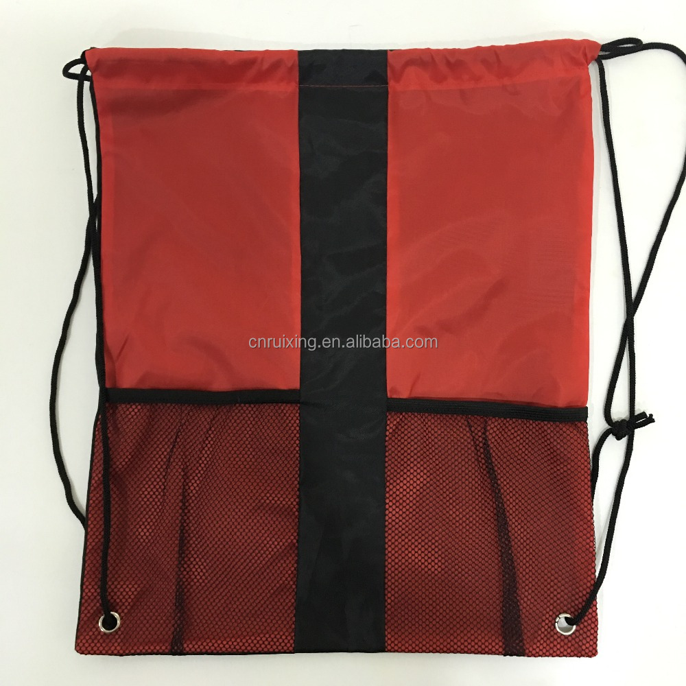 custom promotion 210d nylon drawstring bag with mesh pocket