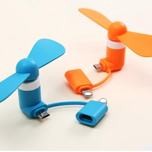 2 em 1 ventilador micro usb mini ventilador de refrigeração do telefone móvel para android e para o ventilador do iphone