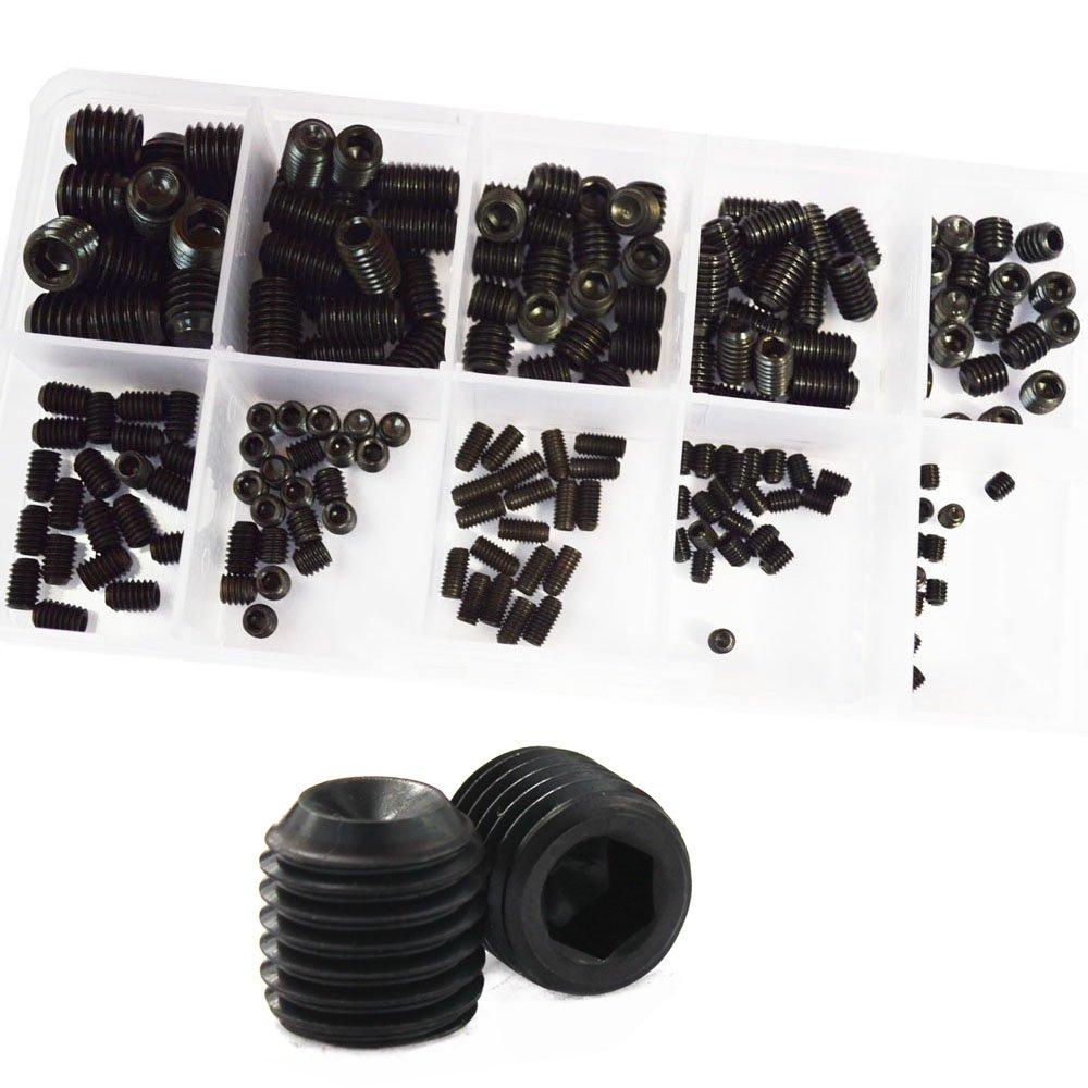 Set Grub Screw Metric M3 M4 M5 M6 M8 Hex Socket Allen Head Screw Assortment Kit Alloy Steel 200Pcs,12.9 Class Black
