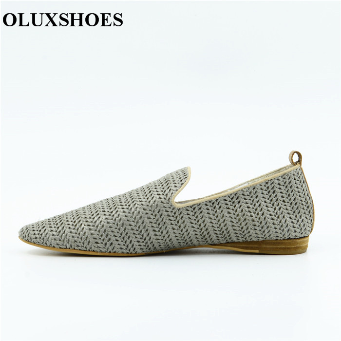 OU2 Rubber Out Sole Pointed Toe Leather Women Casual Flat Summer Shoes