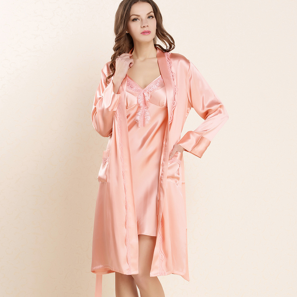 ef380f0471 Get Quotations · Flower long-sleeve robe spring and summer female pure silk  sleepwear mulberry silk robe twinset