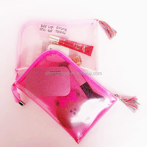 Cute clear glitter pvc makeup bag for girl