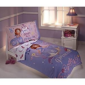 4 Pieces Kids Disney Sofia the First Toddler Bedding Set, Dream like a Princess Girls Comforter, Adorable Cute Pretty Movie Themed Bedding, Pink Purple