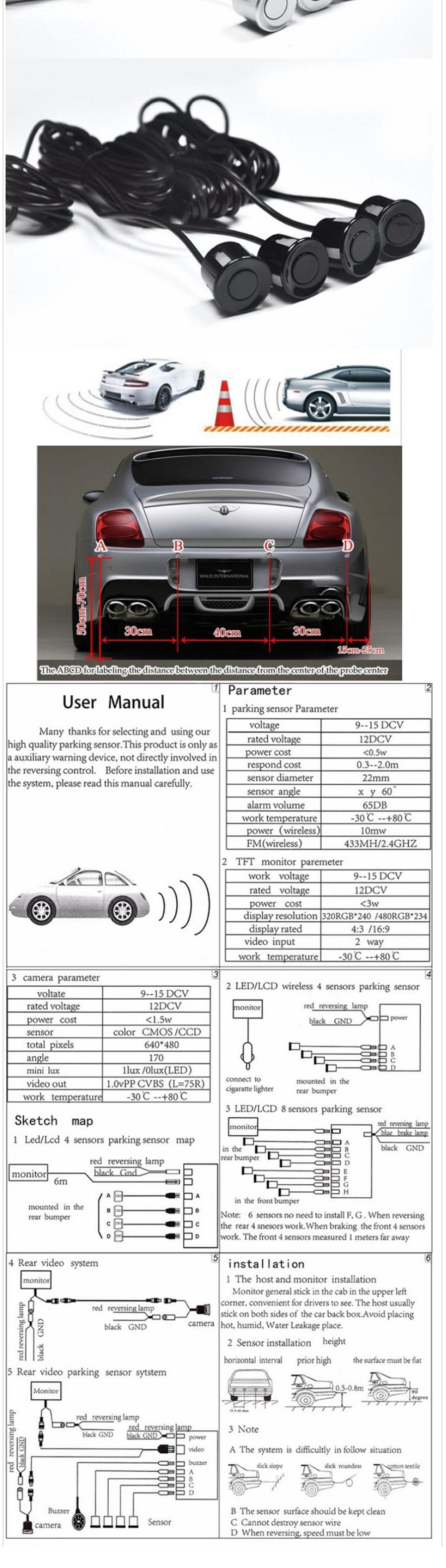 Dual Core CPU Video System 6 Car Parking Sensors, Reverse Backup Radar, 6  Alarm Beep Show Distance On Display Sensor Black
