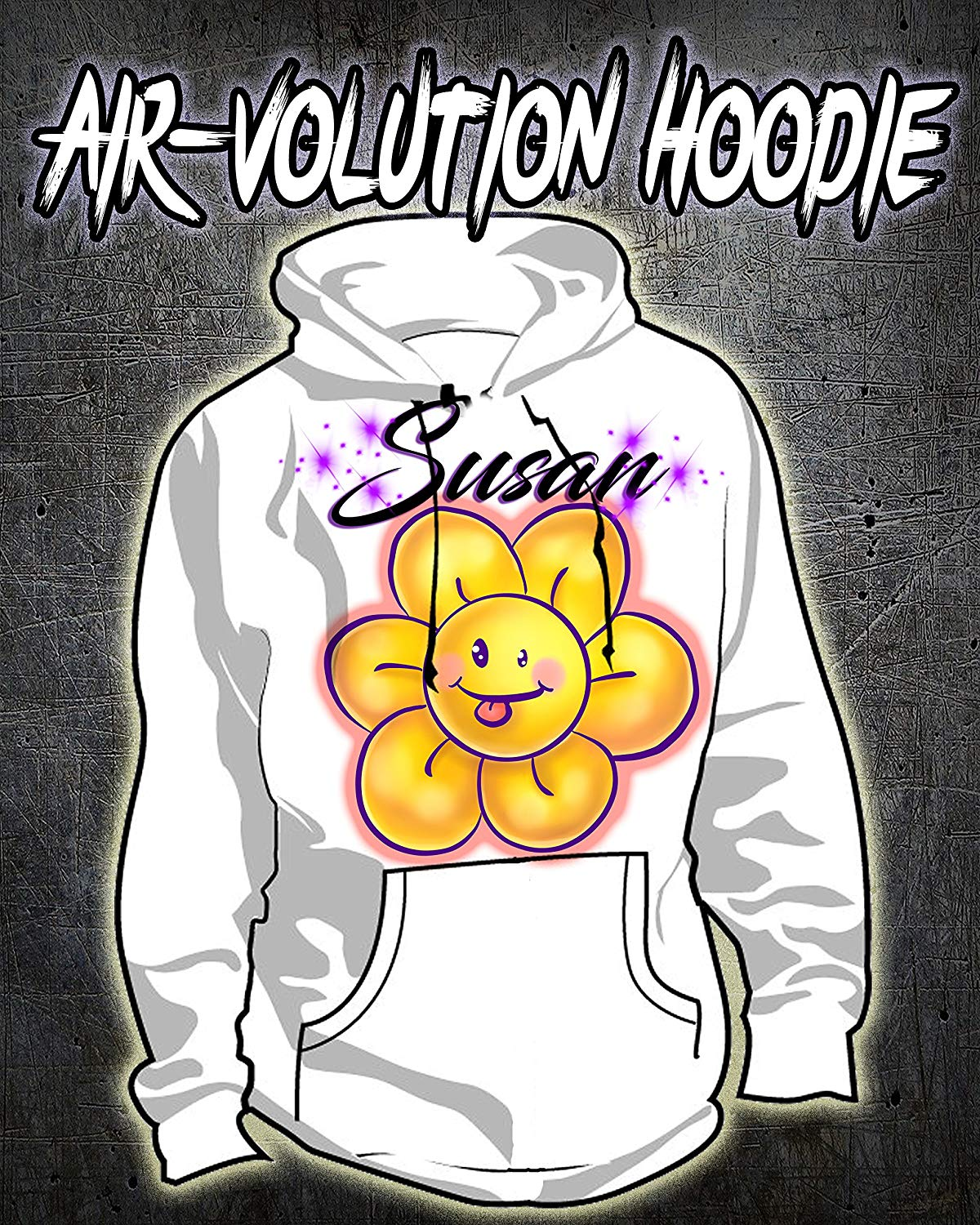 Personalized Airbrush Flower Smiley Hoodie