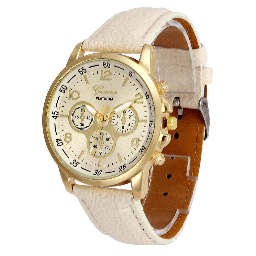 yijiamaoyiyouxia Unisex Casual Geneva Faux Leather Quartz Analog Wrist Watch Watches