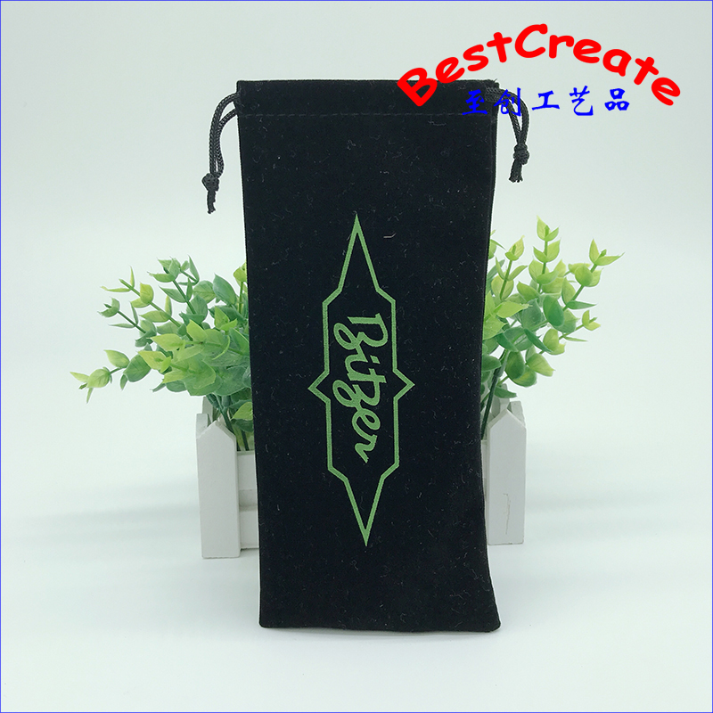Accept Customized Logo 10x22cm Black Drawstring velvet sleep mask bag