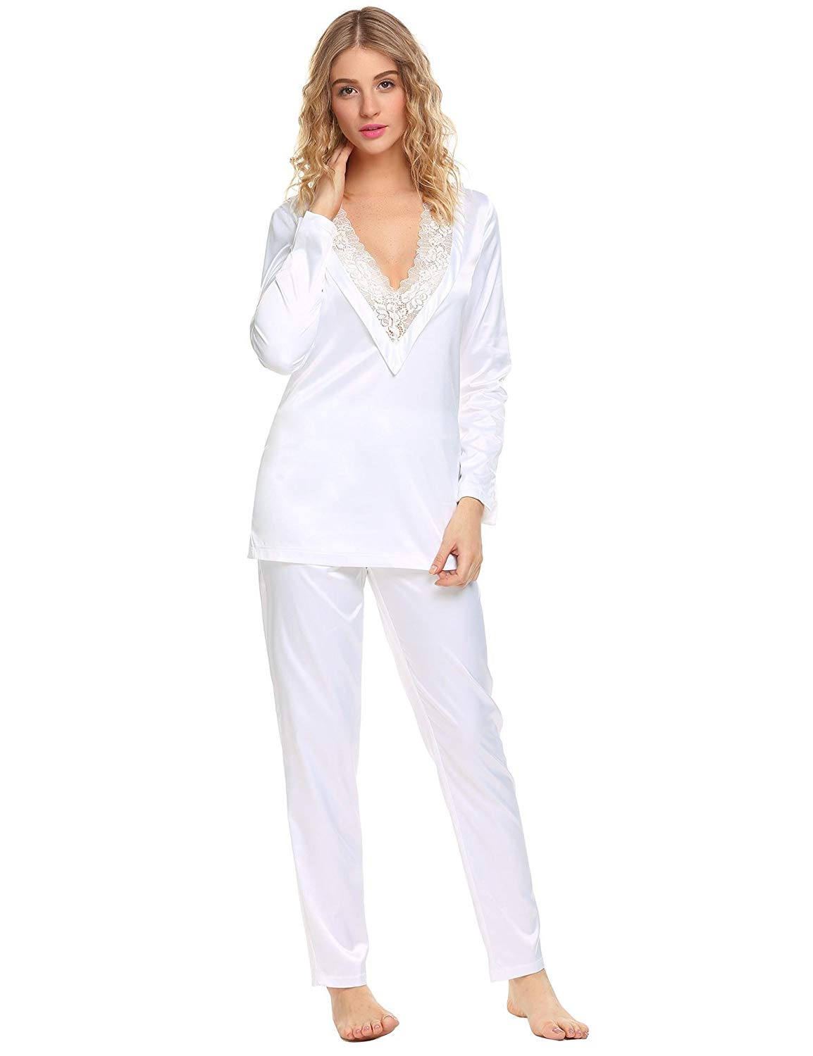 Skylin Satin Sleepwear Women Lace Trim V-Neck Long Sleeve Tops   Pants Pajama  Set 022c55683