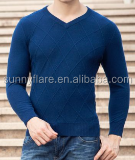 100% cashmere sweater tight v neck pullover plain design for men