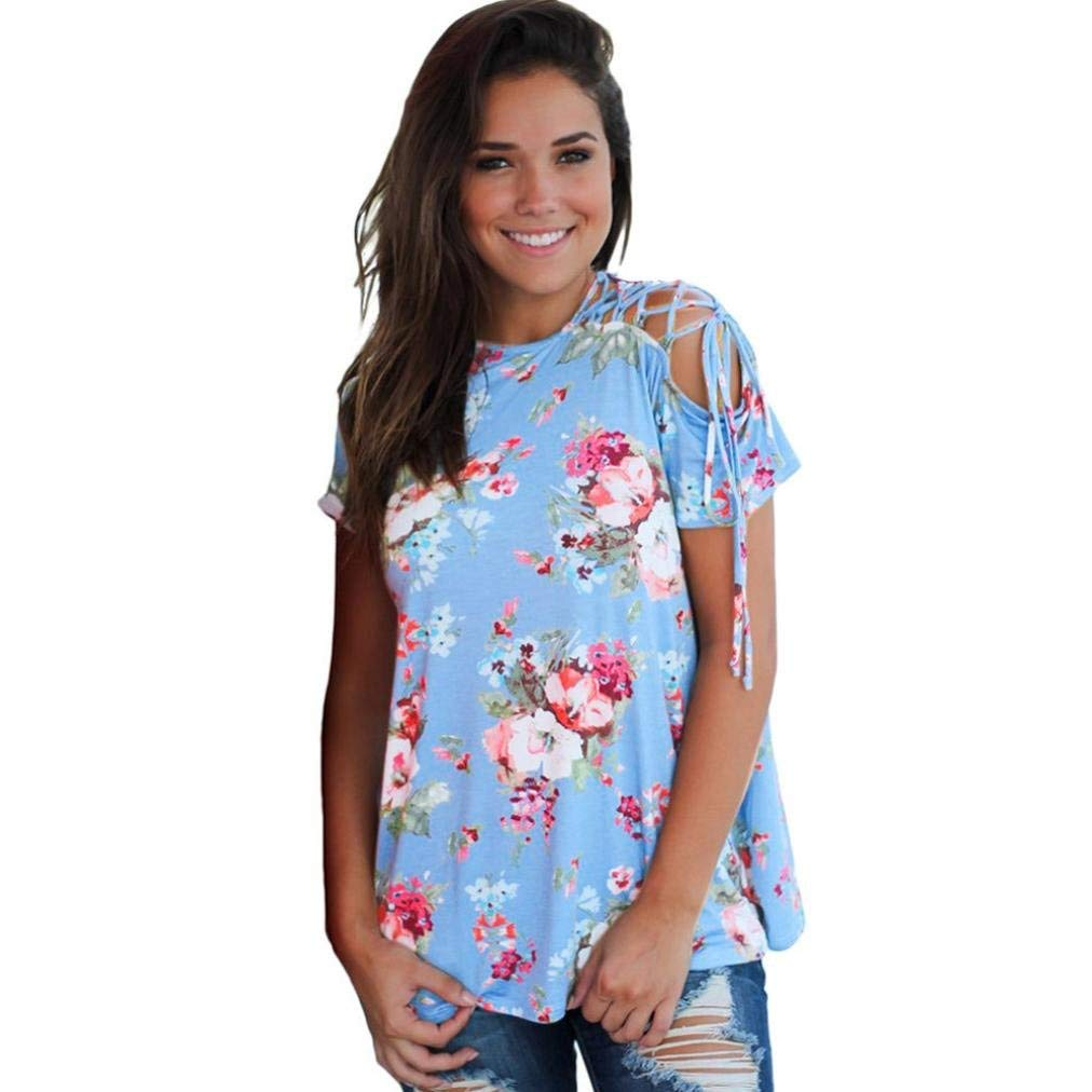BCDshop New Women Floral Tops Short Sleeve Cold Shoulder Bandage Casual Blouse T-Shirts