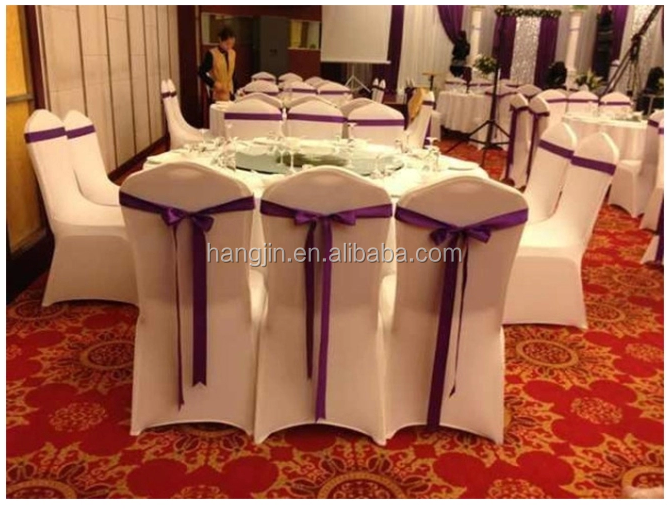 graceful wedding use 100% polyester lycra chair cover with elegant ribbons for every special events