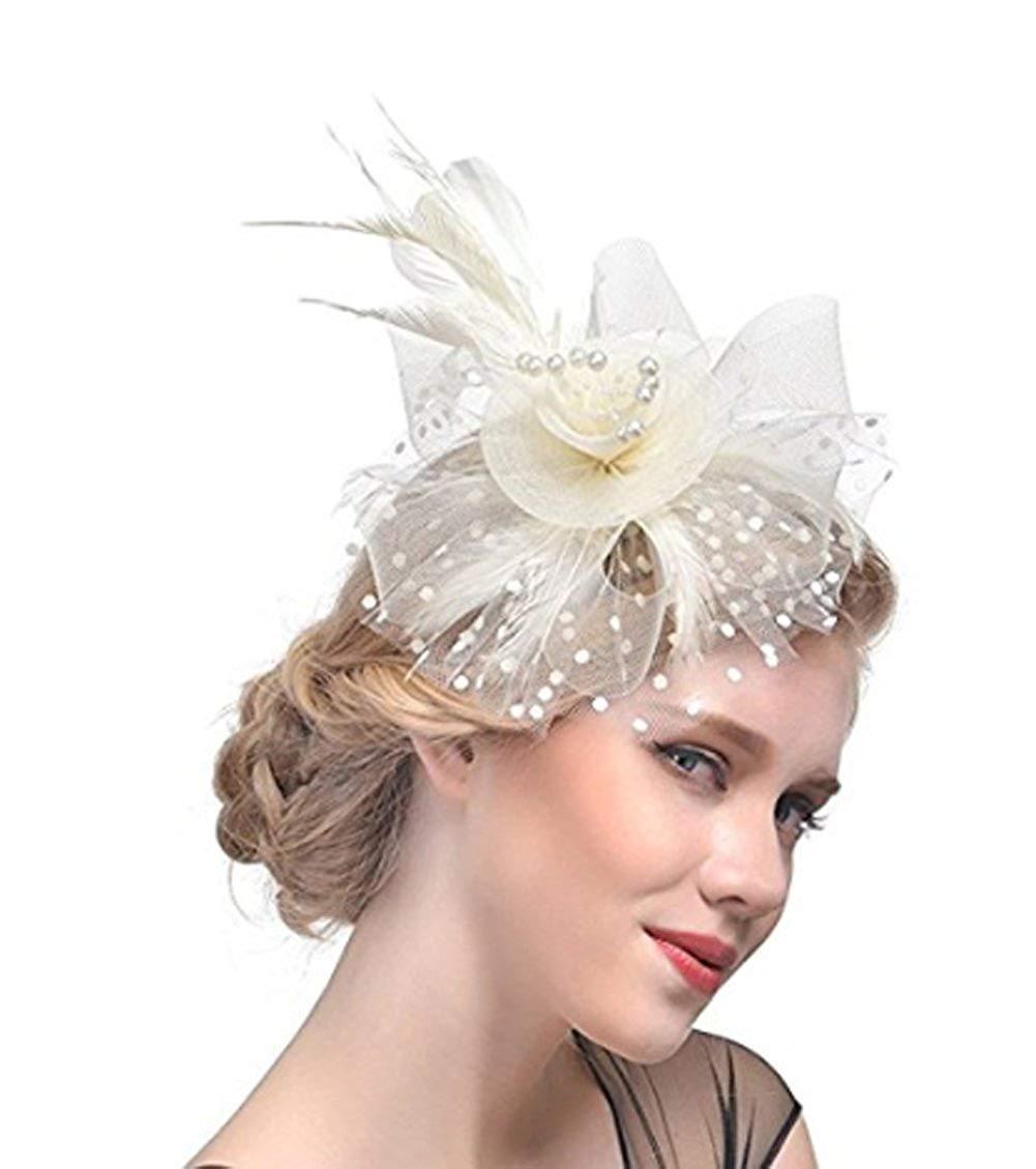 8e91e0650fa Get Quotations · JOYEBUY Fascinators Hat Flower Feathers Hair Clip Kentucky  Derby Wedding Cocktail Headwear for Lady Women