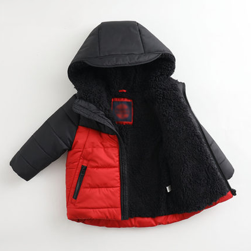 Pinghu TIMES 2018 OEM Custom Wholesale Boy Fashion Color Matching Plus Velvet Cotton Baby Warm Cotton Apparel Baby Boy Jacket