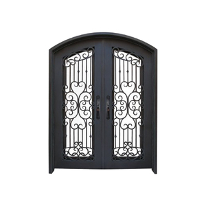 SZ-048 Decorative Flat Top Steel Double Entry Door