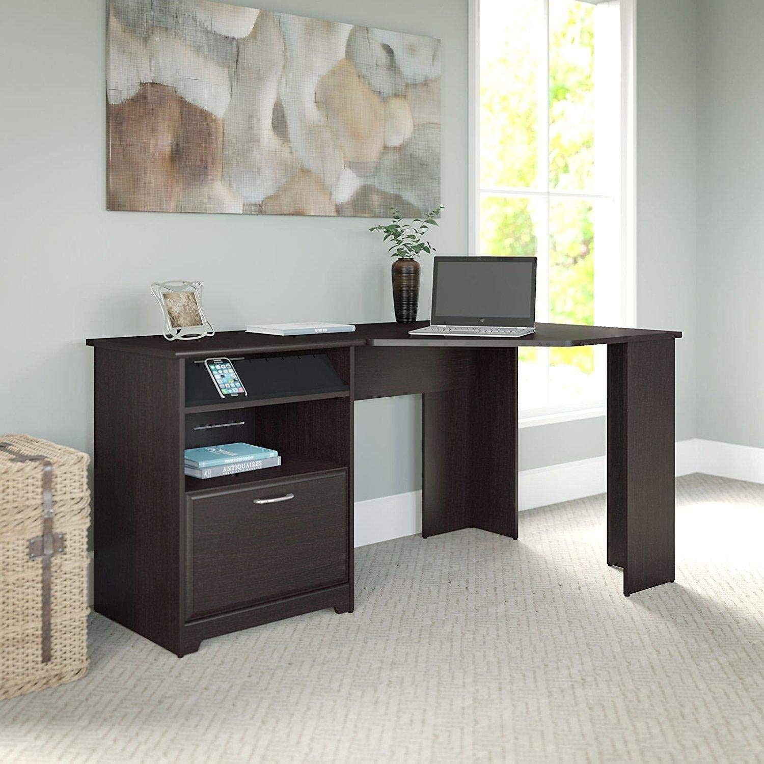 Get Quotations Dark Brown Modern Corner Computer Desk Perfect E Saving Contemporary Home Office Or College Student