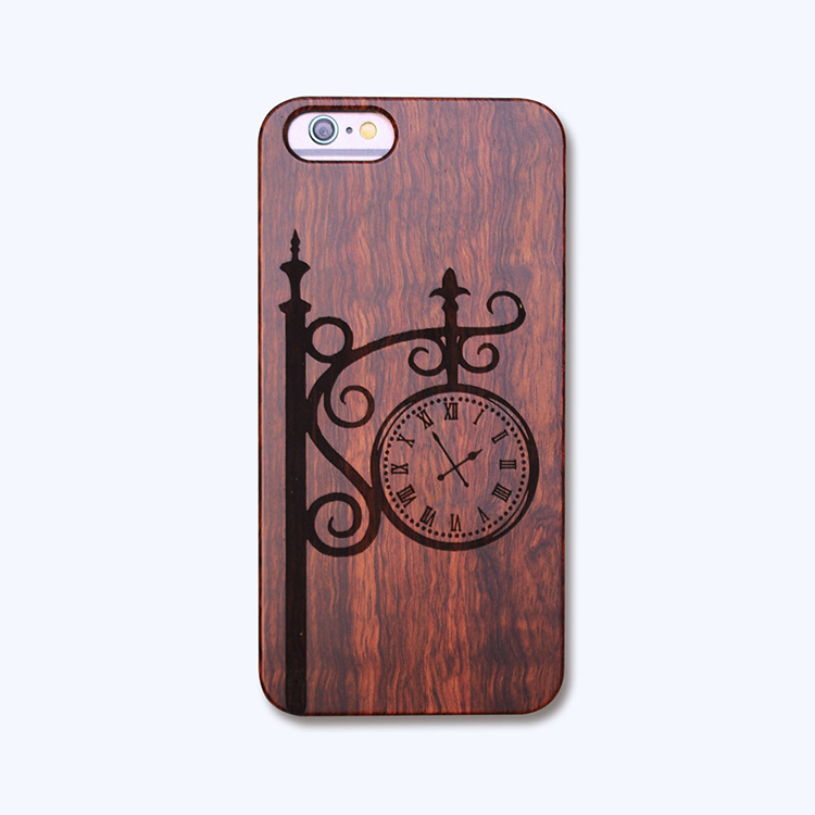 Engraved Alarm clock Pattern PC+Wood Wood enlaser engraving OEM Custom Design MoBile Phone Case for iphone 5 5s se