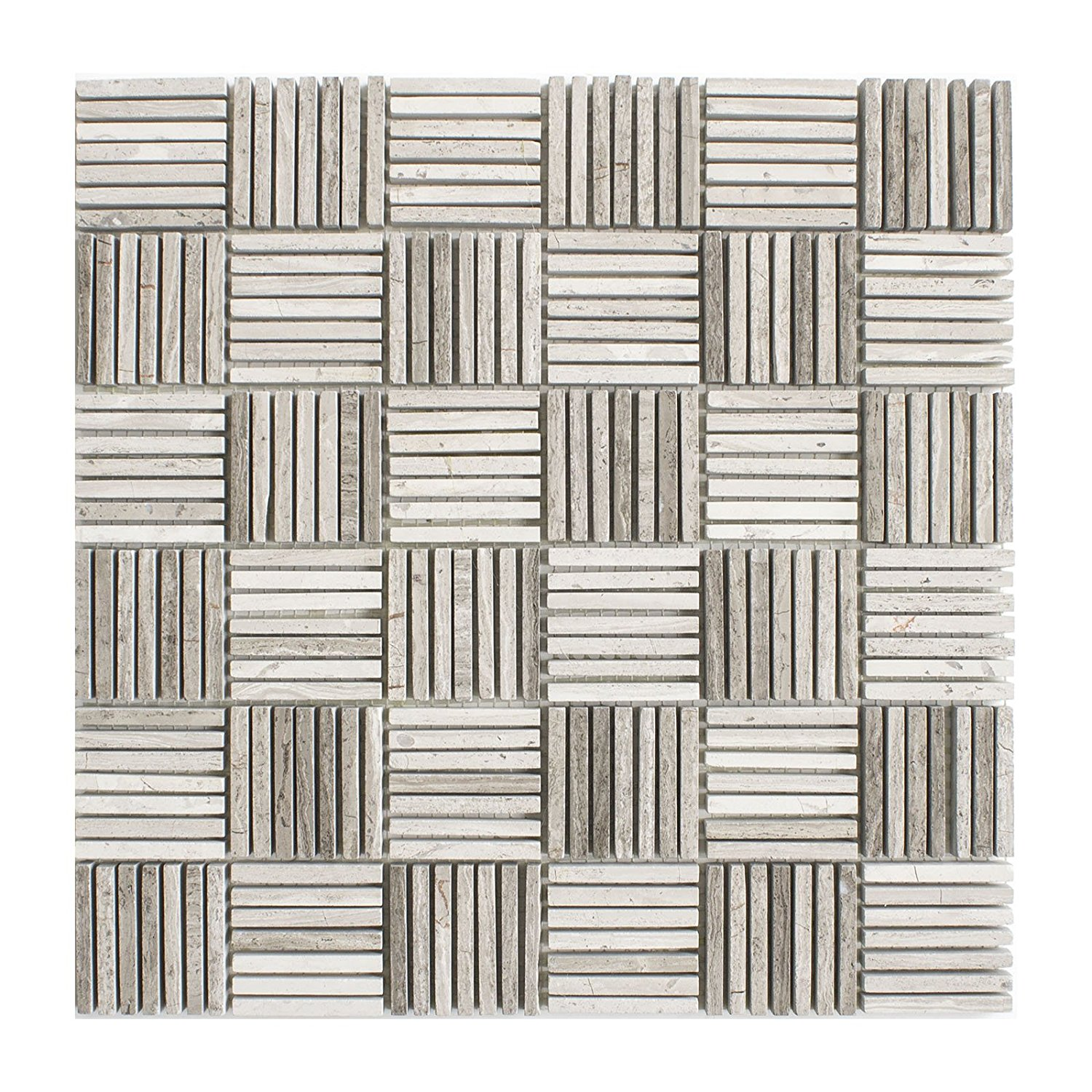 """Marble Mosaic Tile, """"Match Stick Collection"""", MM 5202 - White Oak, 1/4""""X2"""" Strips, 12""""X12"""", Polished (Sample (4""""X4""""))"""