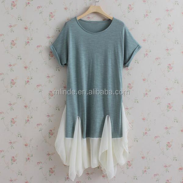 Wholesale Bulk Cheap Female Boutique Clothing Plus Size Tunics Chiffon Cotton Pleated Dress Chinese Manufacturers