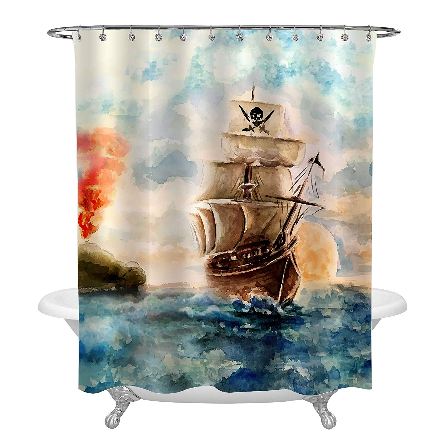 Get Quotations Caribbean Pirate Ship Cruises In Treasure Adventure Shower Curtain Abstract Accessories Bathroom Decorations
