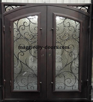 Wrought Iron Double Door Safety Entry Steel Front Main With Corner Gl Scroll