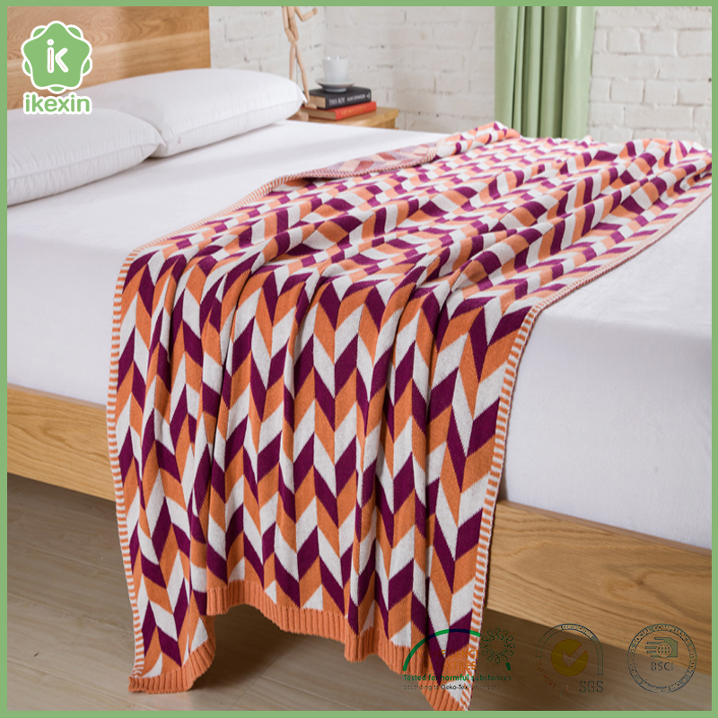 Jacquard Organic Cotton Knitted Blanket
