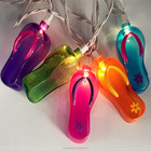 UL Certificate Summertime 10 Count Colored Flip Flop Slipper String Lights Beach Party Sandal Patio Novelty Lights 8FT