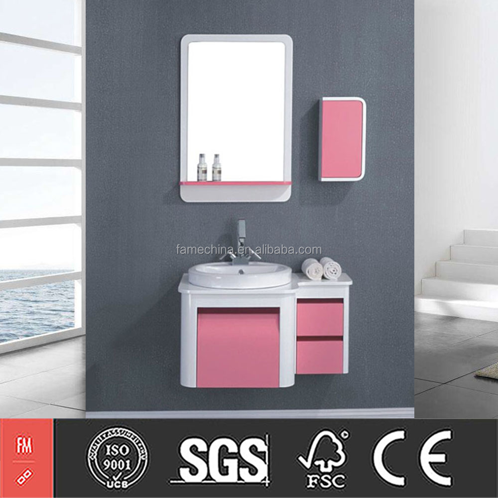 Wholesale Pink PVC Bathroom Cheap Vanity for Sale