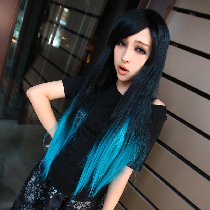 Мода японский harajuku парик черный синий ломбер цвет два тона парики природные реалистичные длинные прямые волосы парики 80 см