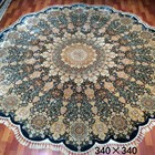 Luxury Living Room Round Rug Hand Knotted Persian Carpet Spun Handmade Silk Carpet Persian Rug