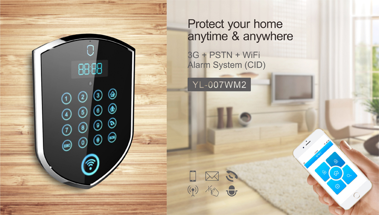 Home Security system hottest WiFi / 3G + GSM home alarm DIY wireless GSM alarms