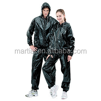 Polyester/PU Coated Fashionable Disposable Sauna Suit with Hat