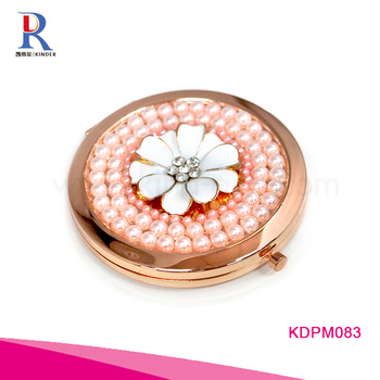 hot sale high quality luxury portable double side jeweled pocket mirror