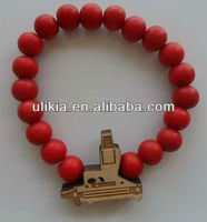 Good quality Gun Wood bracelets Hip-Hop Pendants Wood Rosary Bead bracelets