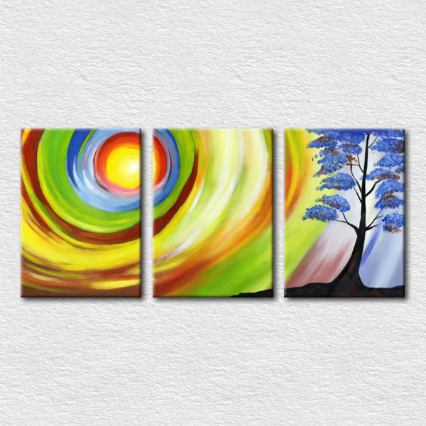 Abstract Sun Tree Nature Wall Painting Designs For Hotel Wall