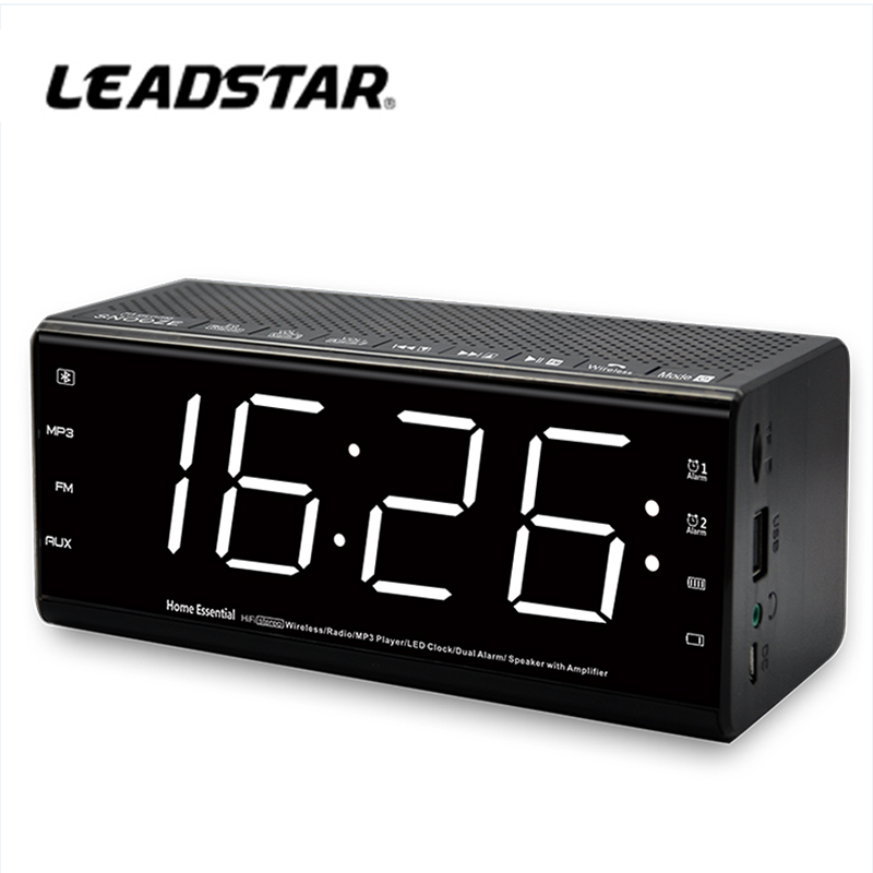 Tempo Display A LED Dimmable Desk Clock con funzioni FM AM Radio e MP3