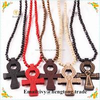 Wholesale custom good wood beads egypt Anka cross pendant neckalce, handmade hip hop wood bead jewelry